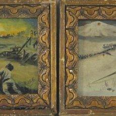 Arte: O1-080. PAREJA DE POSTALES PINTADAS AL ÓLEO. FIRMA ILEGIBLE. SIGLO XIX. . Lote 52816488