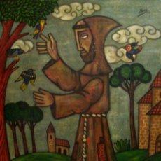 Arte: RICARDO YSASI SAN FRANCISCO CON LOS PAJARITOS FIRMADO Y FECHADO 87 O/L TABLE 65 X 54 CM. Lote 52823507