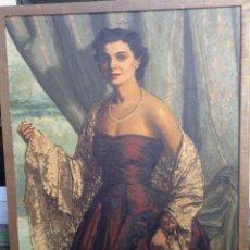 Arte: RAFAEL CUENCA MUÑOZ (1895-1967) - PINTOR ESPAÑOL - ÓLEO SOBRE TELA - DAMA CON MANTILLA. Lote 52850184