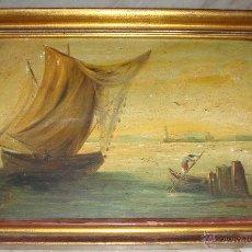 Arte: OLEO SOBRE TABLA. PPIO S.XX. FIRMADA: PRIETO. CASTILLO DE SAN SEBASTIAN AL FONDO (CÁDIZ). Lote 52888128