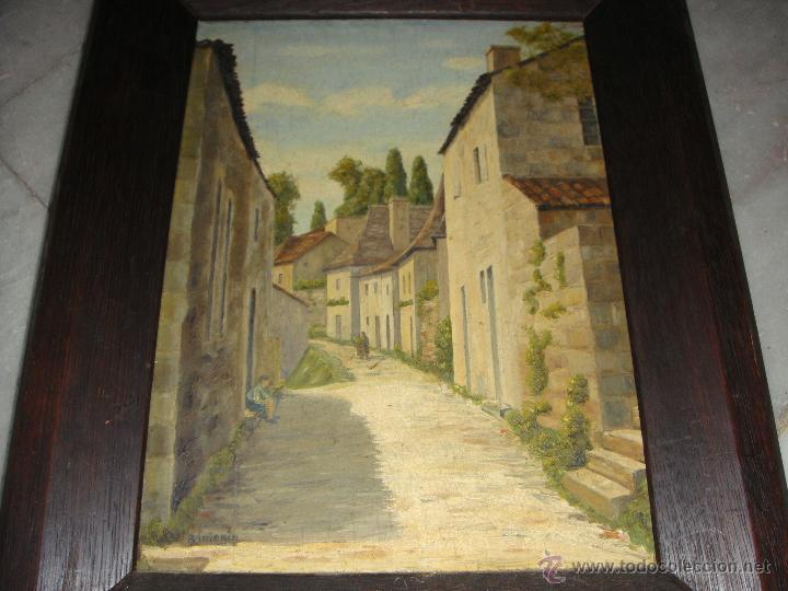 Arte: Oleo sobre tabla. S.XIX. Calle de un pueblo. Firmado. - Foto 2 - 52888749