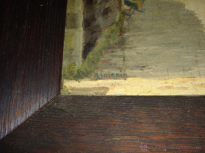 Arte: Oleo sobre tabla. S.XIX. Calle de un pueblo. Firmado. - Foto 3 - 52888749