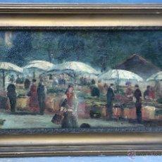 Arte: D. PELISIER (XIX-XX) - PINTOR ITALIANO - ÓLEO SOBRE TELA PEGADA A CARTÓN - MERCADO DE FLORES.. Lote 52889924