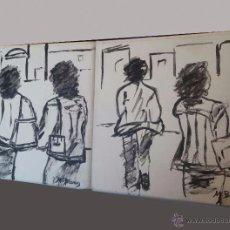 Arte: PAREJA DE CUADROS - MUJERES EN EL MARCADO - OLEO - FIRMADO M. BLAMEZ - 20 X 20 CM. Lote 52940522
