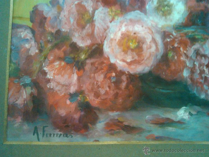Arte: IMPRESIONANTE OLEO ,CLAVELES ANTONIA FERRERAS BERTRÁN 1873- 1935 - Foto 3 - 52966190