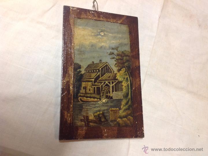 OLEO SOBRE TABLA CASA CON MOLINO (Arte - Pintura - Pintura al Óleo Antigua sin fecha definida)