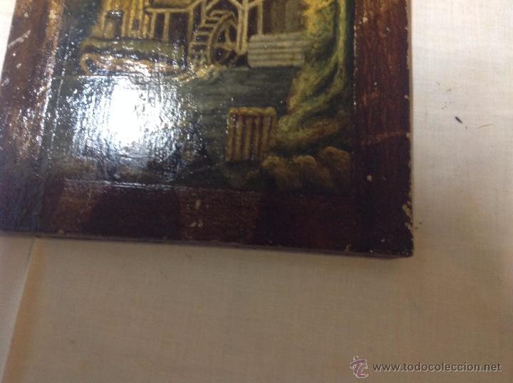 Arte: oleo sobre tabla casa con molino - Foto 2 - 52978684
