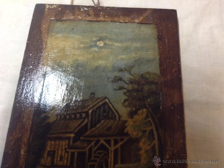 Arte: oleo sobre tabla casa con molino - Foto 4 - 52978684