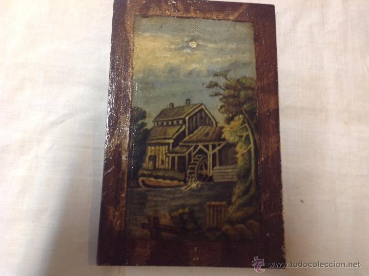 Arte: oleo sobre tabla casa con molino - Foto 5 - 52978684