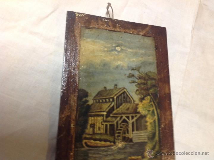 Arte: oleo sobre tabla casa con molino - Foto 6 - 52978684
