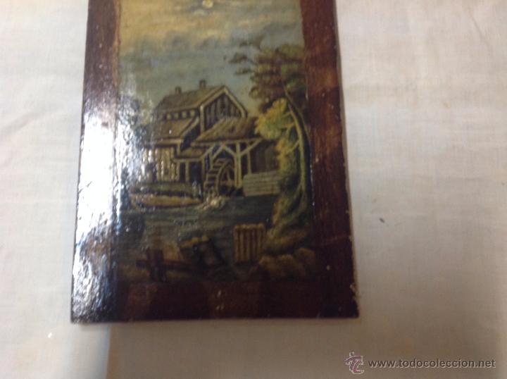Arte: oleo sobre tabla casa con molino - Foto 9 - 52978684