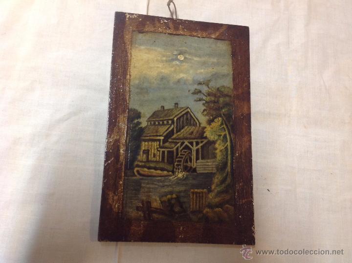 Arte: oleo sobre tabla casa con molino - Foto 13 - 52978684