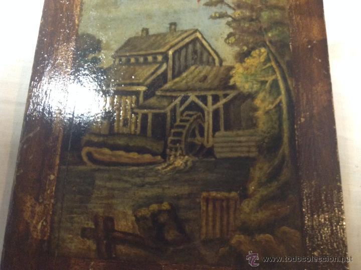 Arte: oleo sobre tabla casa con molino - Foto 15 - 52978684