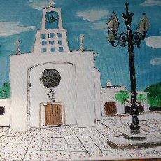 Arte: ERMITA DE PUEBLOBLANCO ,ÓLEO SOBRE LIENZO EN BASTIDOR DE 40X50 CM. DE CRESPO. Lote 52986145
