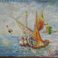 Arte: ESTUPENDA MARINA EN LIENZO. ALGUNA ROTURA Y DESCONCHAMIENTO. FIRMA J. OLIVOS 98 X 74 CENTÍMETROS. Lote 53019725