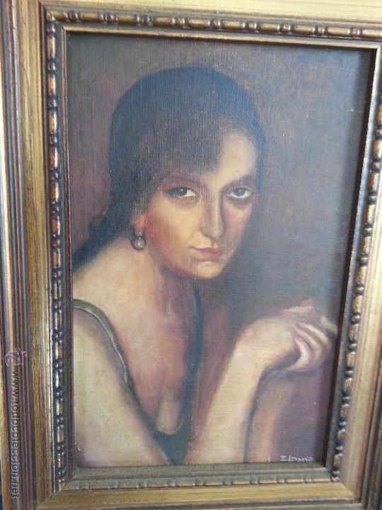 PINTURA OLEO SOBRE TABLA JULIO ROMERO DE TORRES COPIA DE SU OBRA - POR MARIÑAS - MARCO MADERA DORADA (Arte - Pintura - Pintura al Óleo Antigua sin fecha definida)