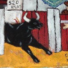 Arte: SALE EL TORO , ÓLEO SOBRE TABLA RECICLADA CON ALGUNAS HUELLAS DE ANTERIOR UTILIZACIÓN 30X40 CRESPO. Lote 53069779