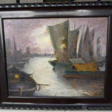 Arte: JULIÁN IBAÑEZ DE ALDECOA Y ARANO (1866-1952) PINTOR ESPAÑOL - ÓLEO SOBRE TELA - PUERTO NOCTURNO. Lote 53091206