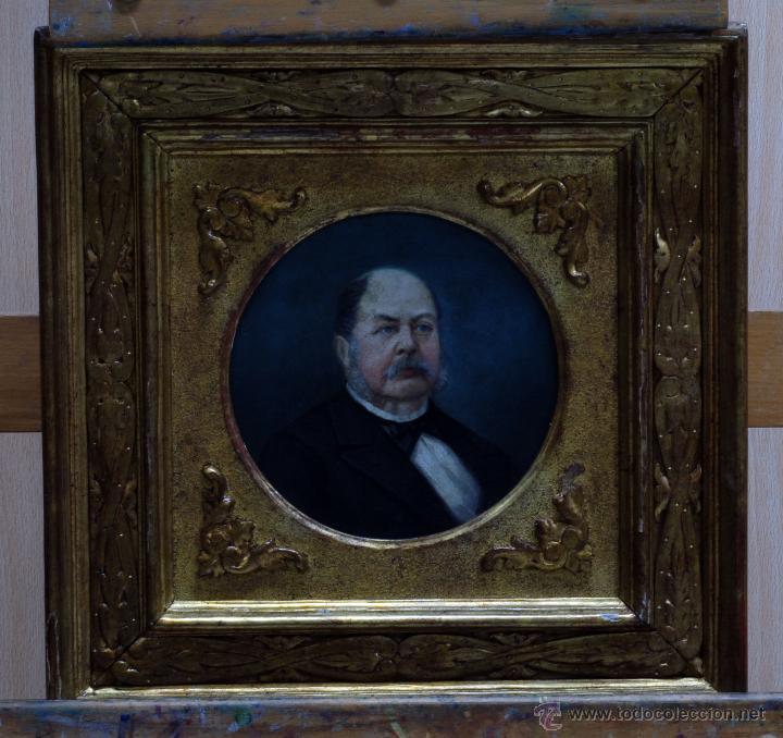 Arte: Pareja óleo sobre tabla retratos victorianos caballero y dama con marco época madera dorada S XIX - Foto 2 - 53120423