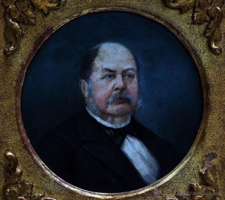 Arte: Pareja óleo sobre tabla retratos victorianos caballero y dama con marco época madera dorada S XIX - Foto 3 - 53120423
