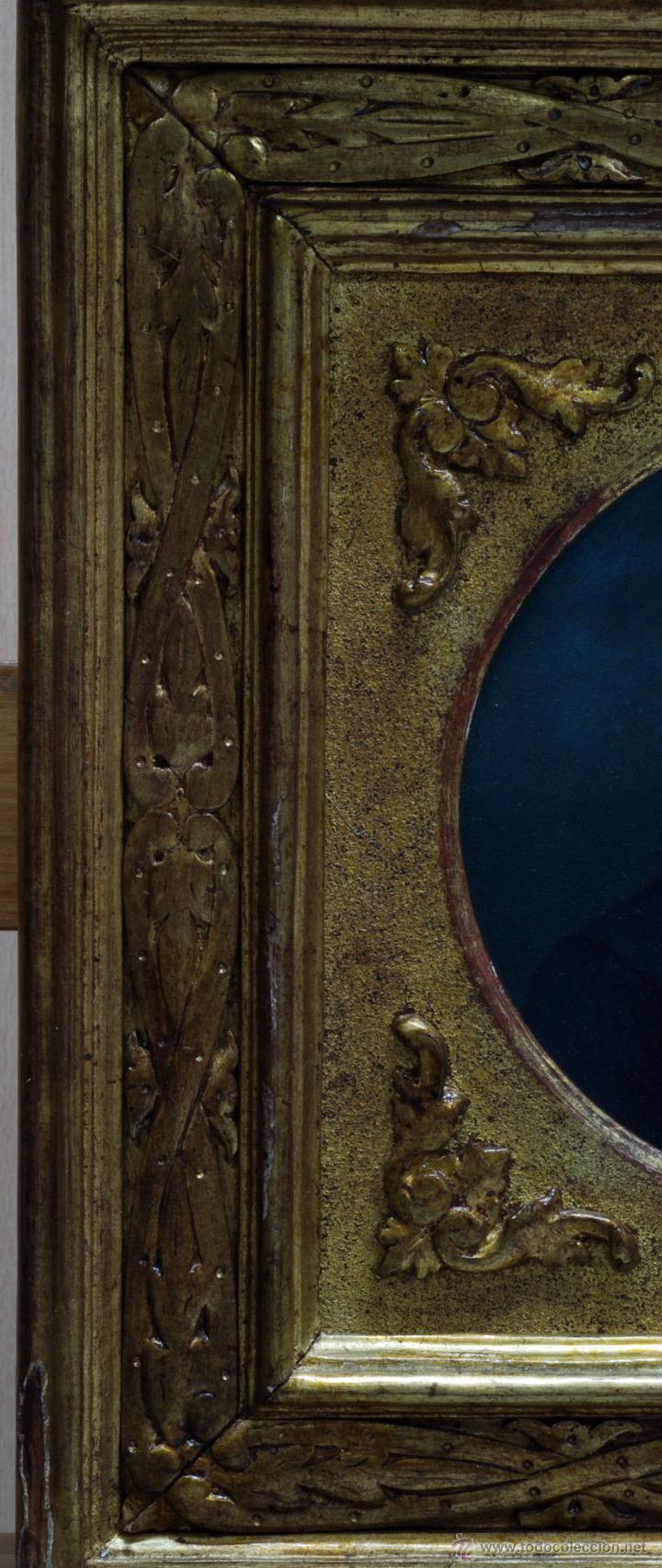 Arte: Pareja óleo sobre tabla retratos victorianos caballero y dama con marco época madera dorada S XIX - Foto 5 - 53120423