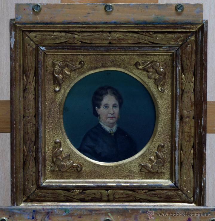 Arte: Pareja óleo sobre tabla retratos victorianos caballero y dama con marco época madera dorada S XIX - Foto 6 - 53120423