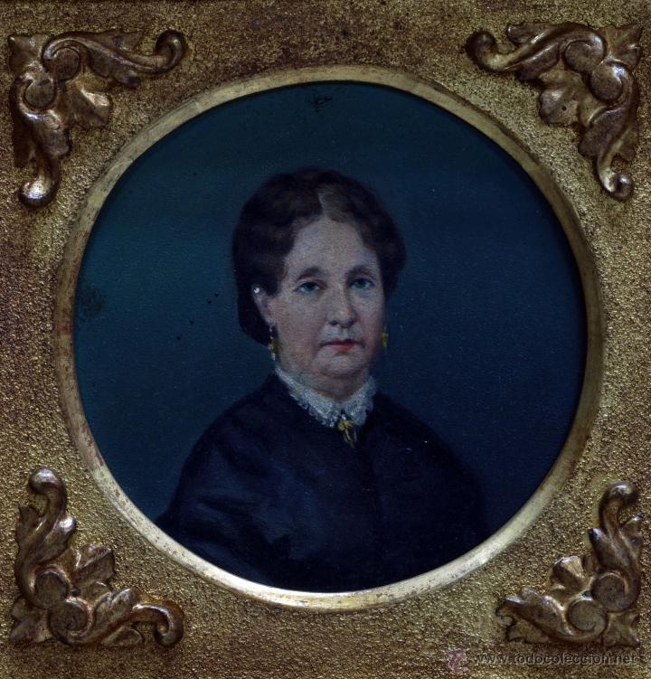 Arte: Pareja óleo sobre tabla retratos victorianos caballero y dama con marco época madera dorada S XIX - Foto 7 - 53120423