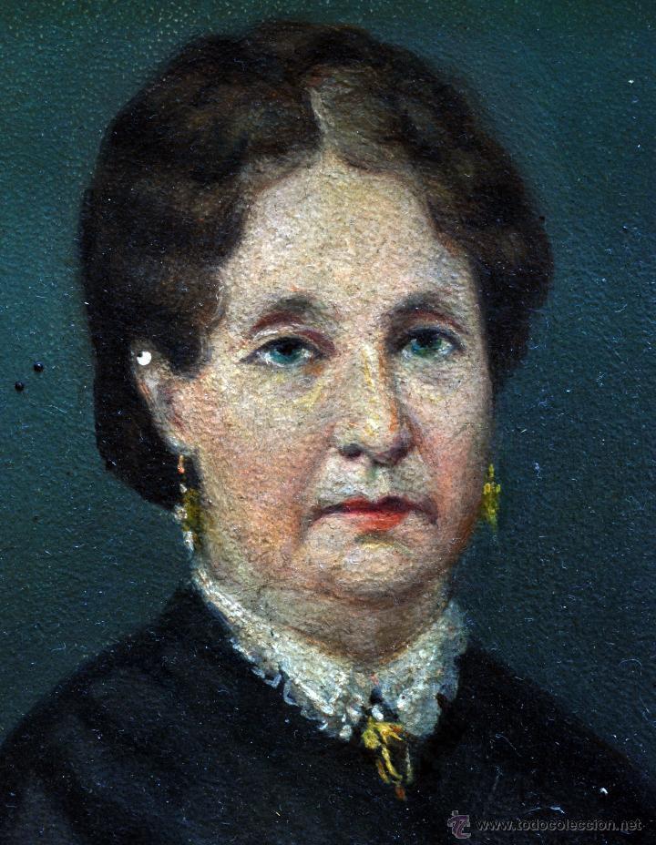Arte: Pareja óleo sobre tabla retratos victorianos caballero y dama con marco época madera dorada S XIX - Foto 8 - 53120423