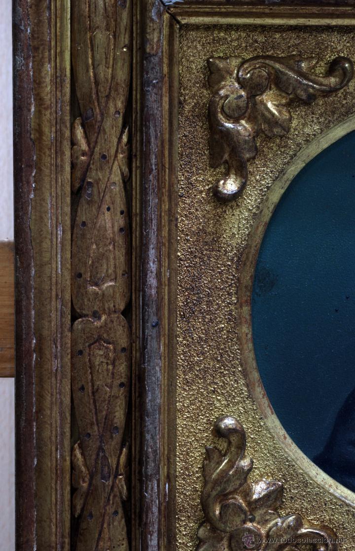 Arte: Pareja óleo sobre tabla retratos victorianos caballero y dama con marco época madera dorada S XIX - Foto 9 - 53120423
