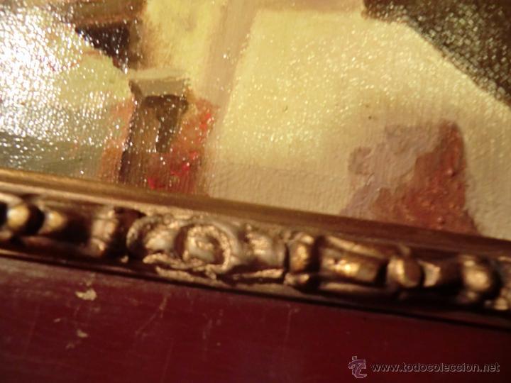 Arte: Óleo sobre lienzo finales del XIX o principios del XX. Posible jardín Alcázar Sevilla. Anónimo - Foto 3 - 53187512