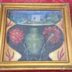Arte: JARRÓN CON CLAVELES. ENSOÑACIÓN. OLEO SOBRE TABLA. CON MARCO DORADO.. Lote 53339116