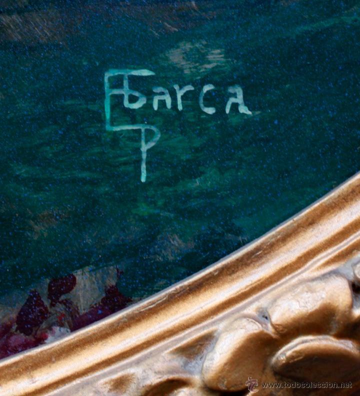 Arte: Pere Casas Abarca (1875-1958) Ninfas en una fuente, 1900's aprox. Óleo sobre madera ovalado - Foto 2 - 53412924