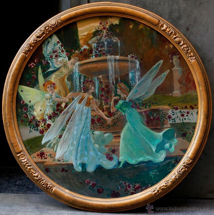 Arte: Pere Casas Abarca (1875-1958) Ninfas en una fuente, 1900's aprox. Óleo sobre madera ovalado - Foto 4 - 53412924