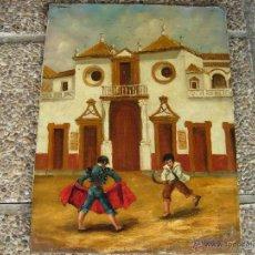 Arte: JUGANDO AL TORO EN LA MAESTRANZA 46X62 OLEO DEL XIX MUY BONITO. AMODEO. Lote 53497245