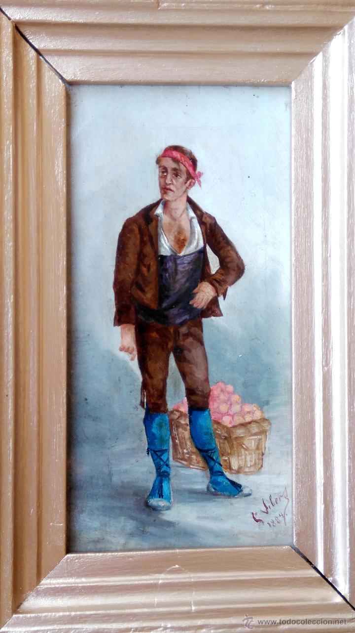 PINTURA ESPAÑOLA,OLEO SIGLO XIX,AÑO 1884,FIRMA S.VICENS,CAMPESINO-LABRADOR,CON CESTA DE NARANJAS (Arte - Pintura - Pintura al Óleo Moderna siglo XIX)
