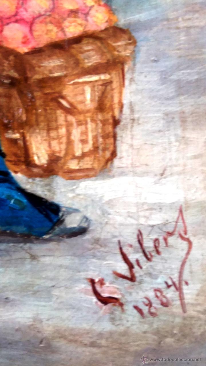 Arte: PINTURA ESPAÑOLA,OLEO SIGLO XIX,AÑO 1884,FIRMA S.VICENS,CAMPESINO-LABRADOR,CON CESTA DE NARANJAS - Foto 4 - 45770574