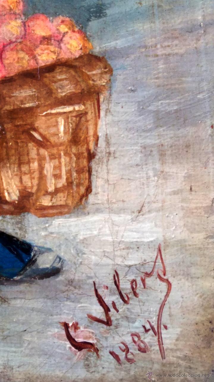 Arte: PINTURA ESPAÑOLA,OLEO SIGLO XIX,AÑO 1884,FIRMA S.VICENS,CAMPESINO-LABRADOR,CON CESTA DE NARANJAS - Foto 8 - 45770574