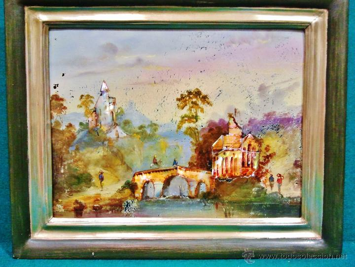 Arte: Paisaje fluvial con puente, personajes y arquitectura. Ó/tabla y nácar. Trabajo centroeuropeo s. XIX - Foto 2 - 53504678