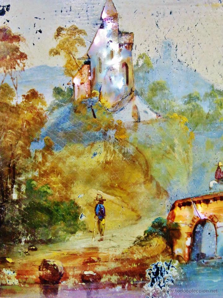 Arte: Paisaje fluvial con puente, personajes y arquitectura. Ó/tabla y nácar. Trabajo centroeuropeo s. XIX - Foto 3 - 53504678
