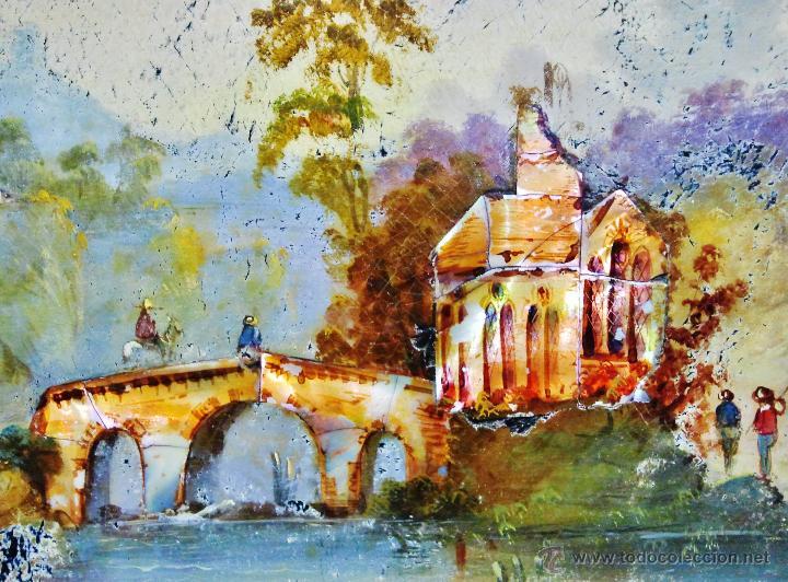 Arte: Paisaje fluvial con puente, personajes y arquitectura. Ó/tabla y nácar. Trabajo centroeuropeo s. XIX - Foto 4 - 53504678