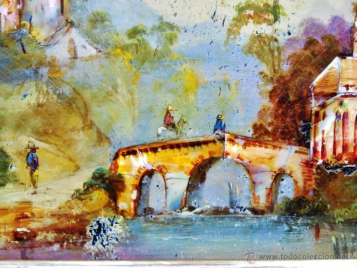 Arte: Paisaje fluvial con puente, personajes y arquitectura. Ó/tabla y nácar. Trabajo centroeuropeo s. XIX - Foto 5 - 53504678