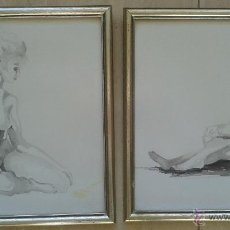 Arte: MONTSE GONZALEZ VALERO (AVIÀ, 1956) - DOS OBRAS ORIGINALES ENMARCADAS 28 X 27 C/U. Lote 53505393