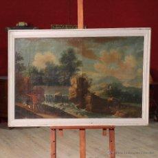 Arte: ANTIGUA PINTURA ITALIANA QUE REPRESENTA PAISAJE CON CAZADORES DEL SIGLO XVIII. Lote 53505735
