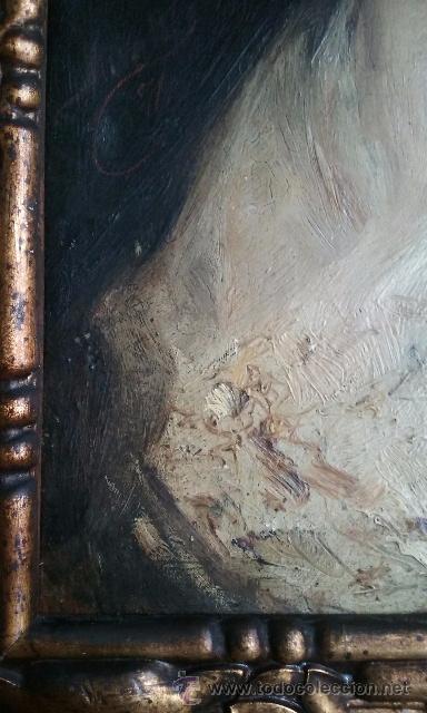 Arte: OLEO SOBRE TABLA, MANOLA DAMA, FIRMADO MIRALLES GALUP ?, SIGLO XIX, ESCUELA VALENCIANA. - Foto 6 - 53618413