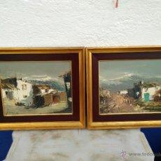 Arte: PINTURA SOBRE MADERA LOTE 2 CUADROS PARAJES RURALES FIRMADO POR IGLESIAS MEDIDAS 34 X 40 . Lote 53644873