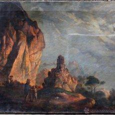 Arte: JOSEP ARRAU (BARCELONA 1802-1872) PAISAJE ROMÁNTICO, ÓLEO SOBRE TELA 50X63 CM.. Lote 53657827