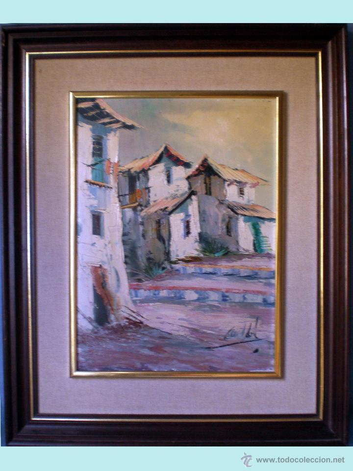 CECIL ABRIL, OLEO SOBRE TABLEX -PUEBLO- 32 X 42 CMS. FIRMADO ANGULO INFERIOR DERECHO.ENMARCADO. (Arte - Pintura - Pintura al Óleo Contemporánea )