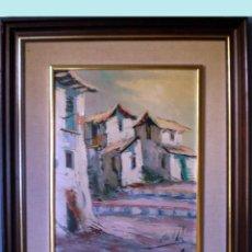 Arte: CECIL ABRIL, OLEO SOBRE TABLEX -PUEBLO- 32 X 42 CMS. FIRMADO ANGULO INFERIOR DERECHO.ENMARCADO.. Lote 53734072