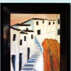 Arte: GINES.-PINTURA EXPRESIONISTA,OLEO S/TABLEX -CASAS IBIZENCAS- 36,5 X 48,5 CM.ENMARCADO 50 X 62 CM.. Lote 53739681