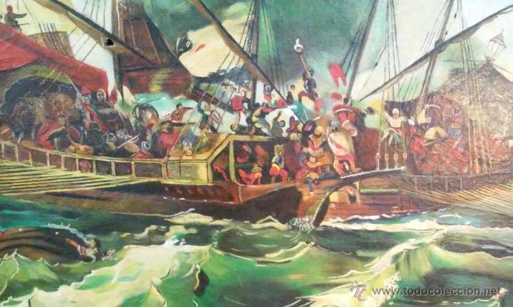 Arte: Magnífico oleo en lienzo. Batalla naval. Tiene una pequeña rotura. Firma M.A.C 126 x 70 cm - Foto 2 - 53753437